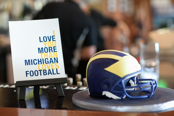 Michigan Football Helmet groom's cake by Sweet Heather Anne